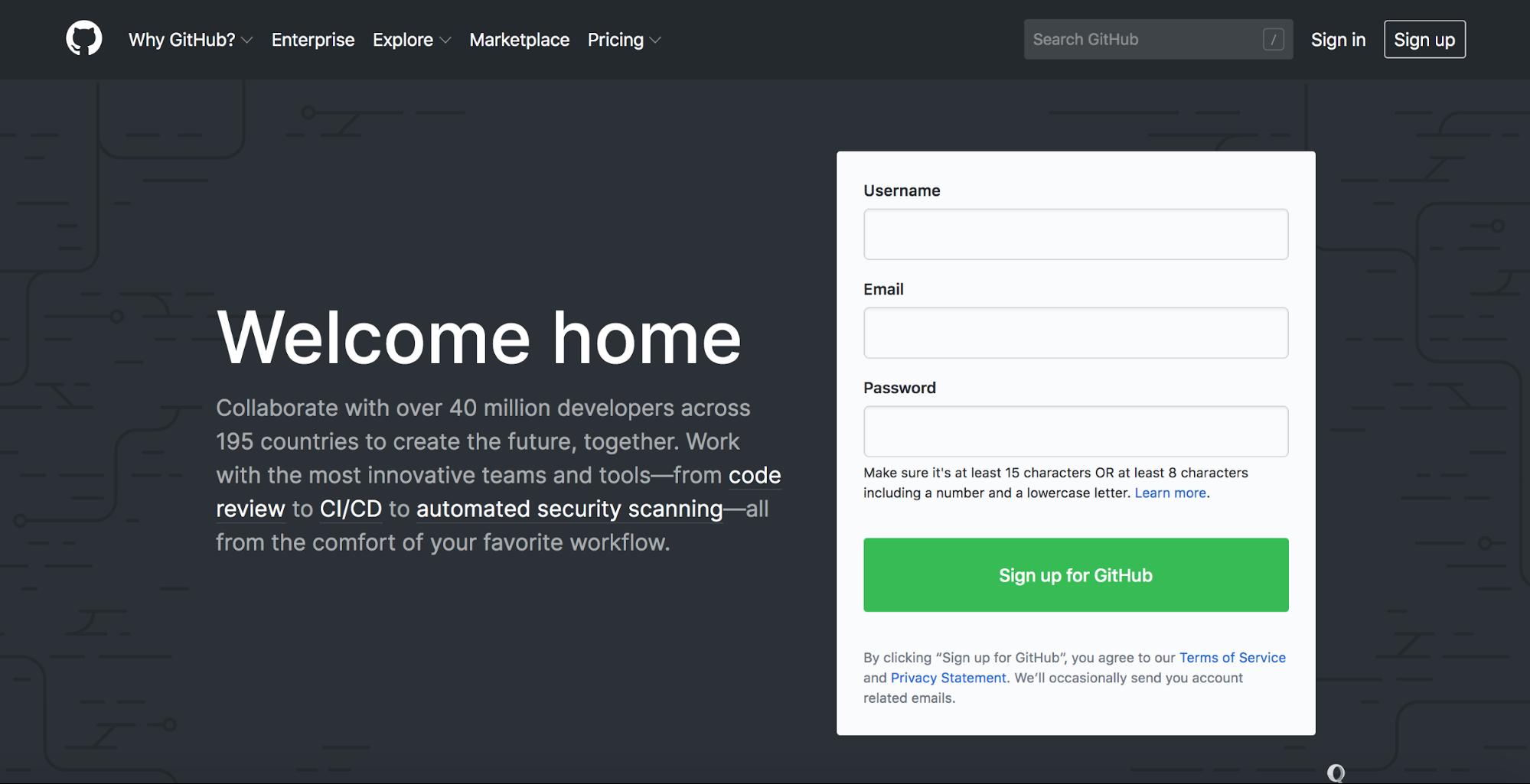 Github Landing Page