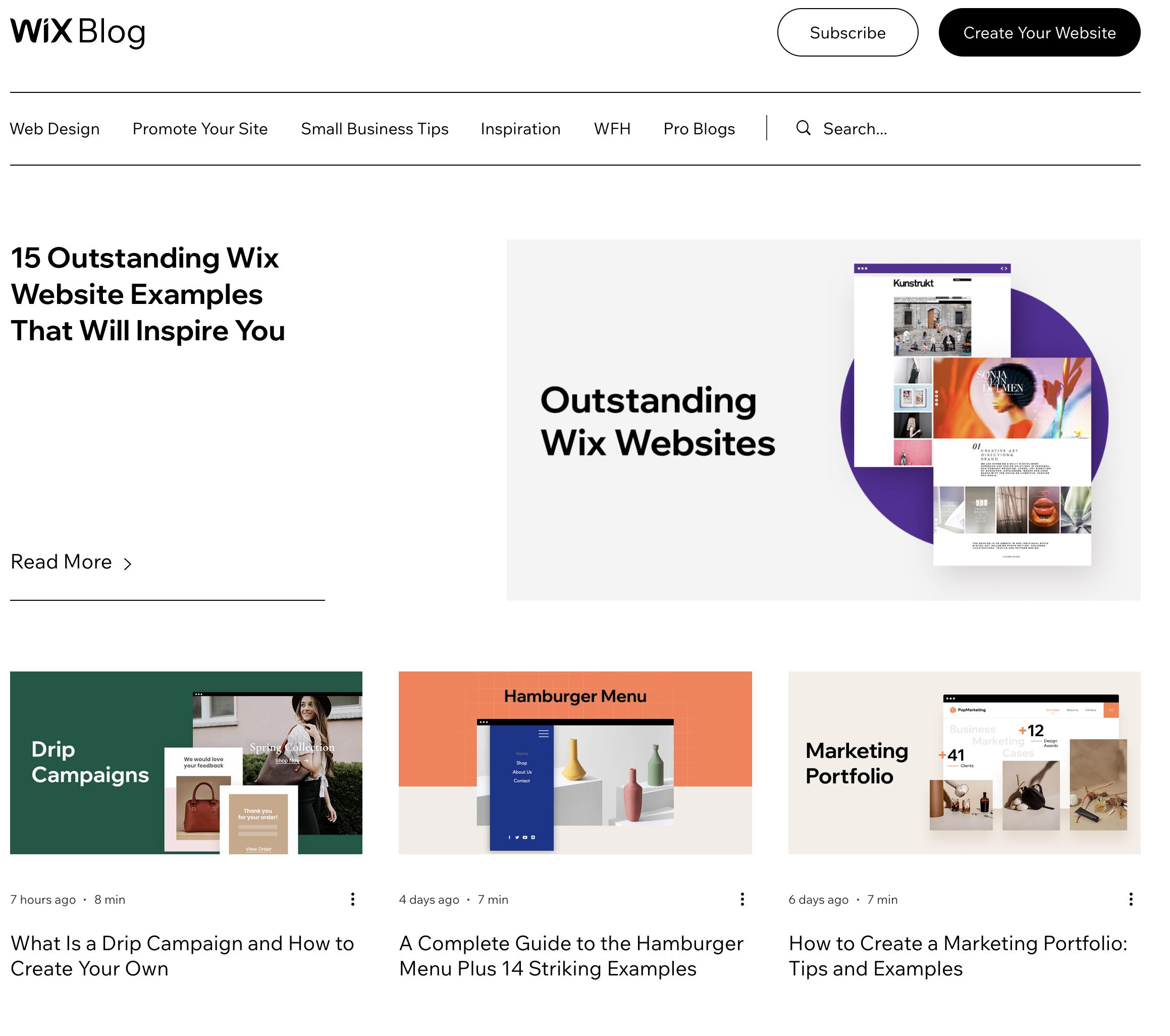 Wix Blog Example
